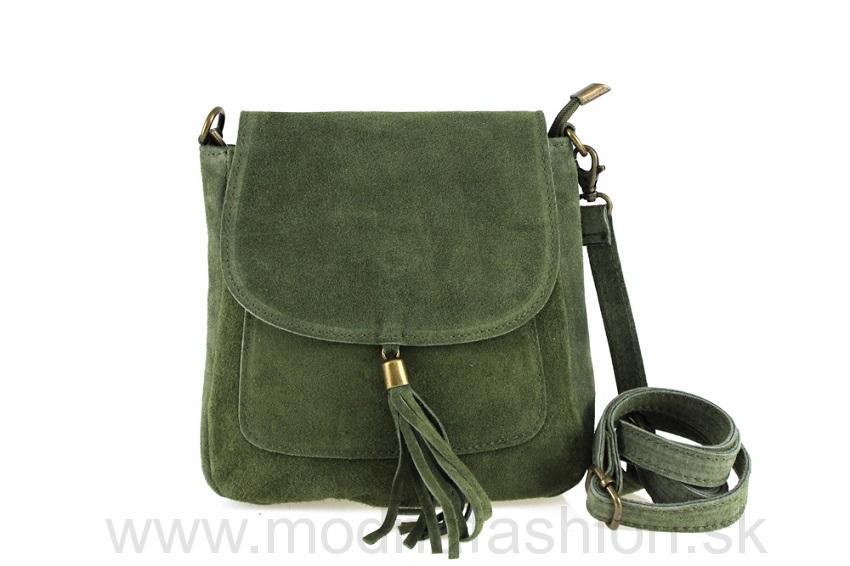 Talianska kožená kabelka cez rameno 1147 vojenská zelená 5ae4f9daebe