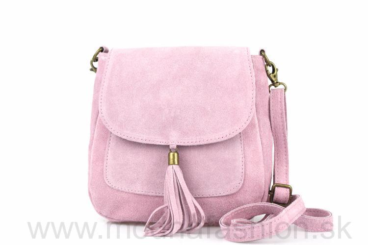 Talianska kožená kabelka cez rameno 1147 ružová 57c6e7c439b