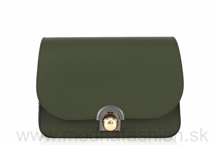 Luxusná talianska kožená kabelka 9666 tmavozelená 3884f0c4af6