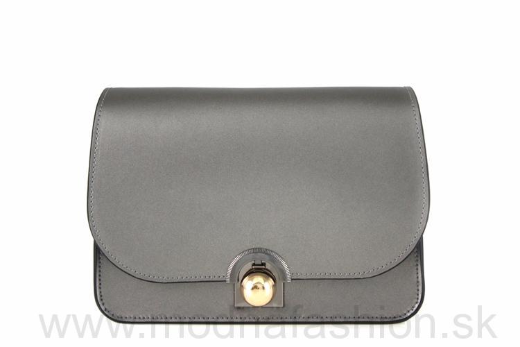 Luxusná talianska kožená kabelka 9666 šedá metalická 7cd77e132b0