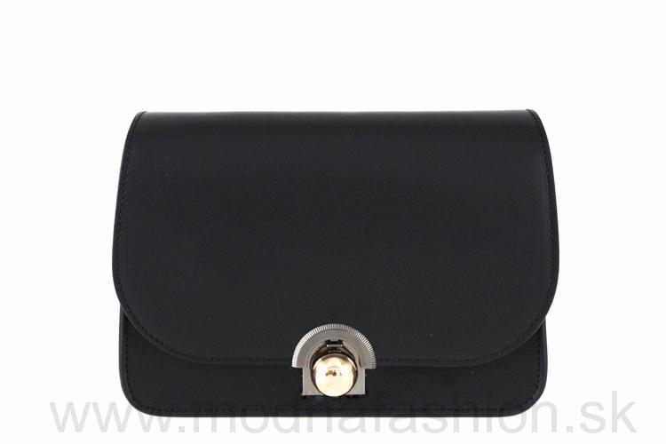 3b8779c5f099 Luxusná talianska kožená kabelka 9666 čierna