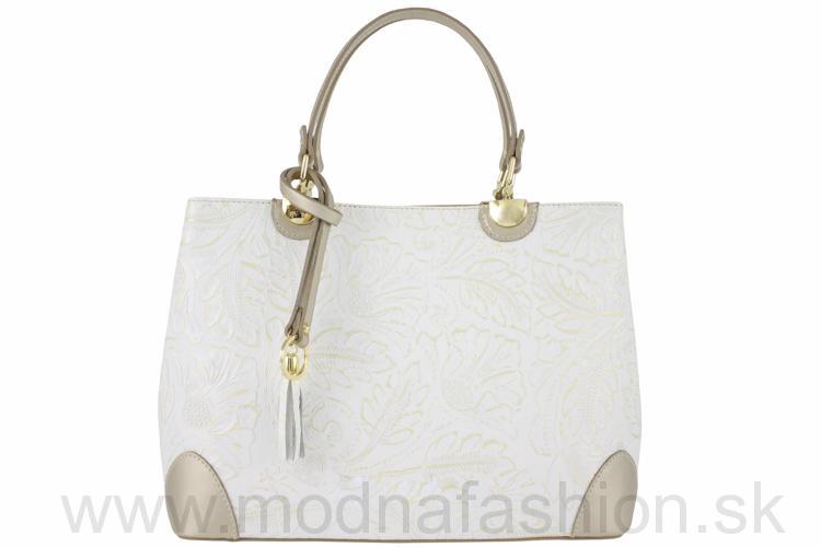 09112d8bf7 Kožená kabelka do ruky biela+zlatá