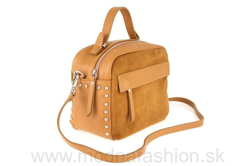 Kožená kabelka do ruky koňak c9404d45960