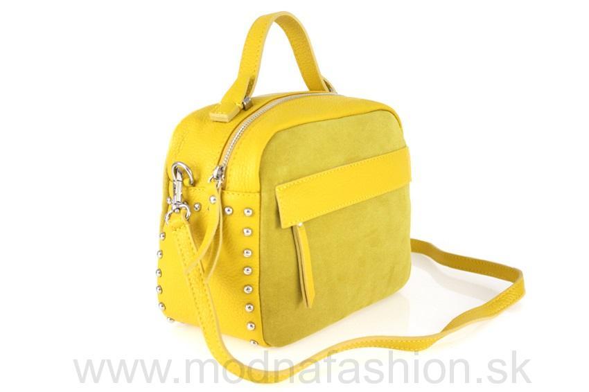 Kožená kabelka do ruky žltá d6fdf24582d