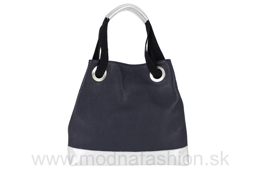 Kožená kabelka na rameno modrá 399885637cb