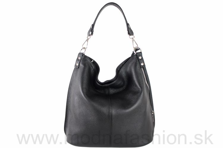 a290296285 Kožená kabelka na rameno čierna