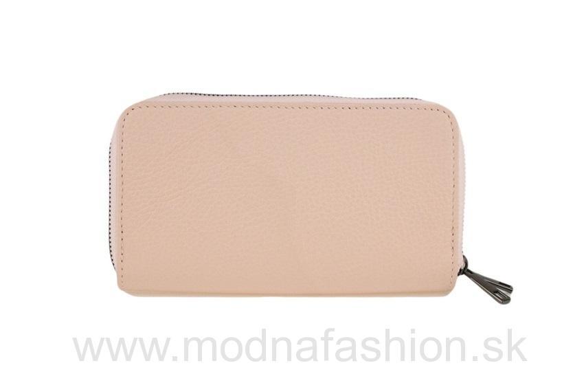 a92f92fbec Talianska kožená peňaženka na zips ružová