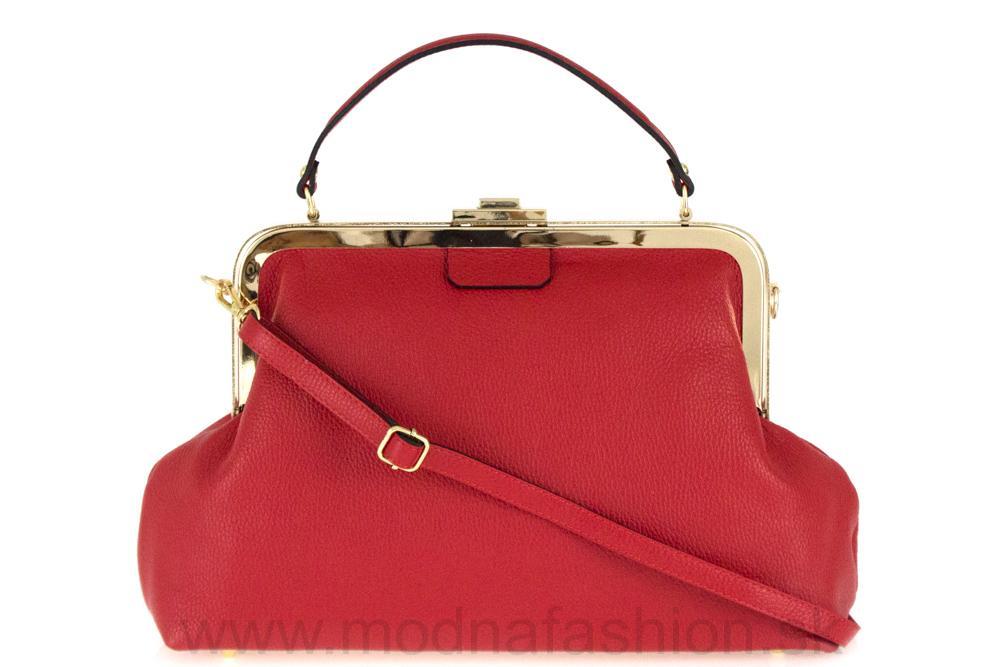 Talianska kožená kabelka do ruky červená MADE IN ITALY 48268f69038