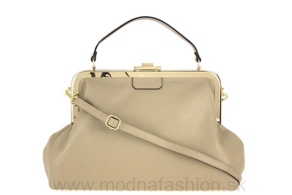 Talianska kožená kabelka do ruky šedohnedá MADE IN ITALY 895da0706a7