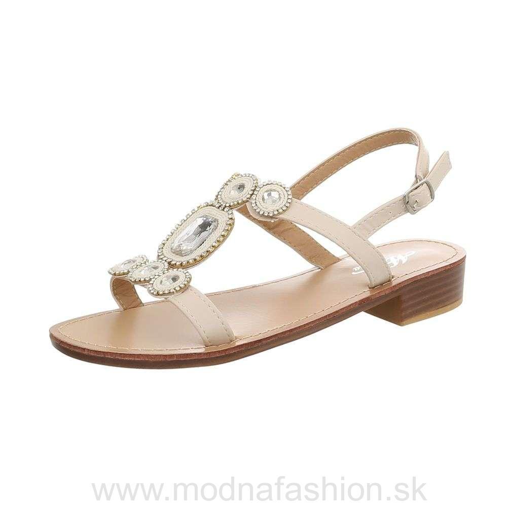 0117410258e3 Letné sandále s kamienkami béžové