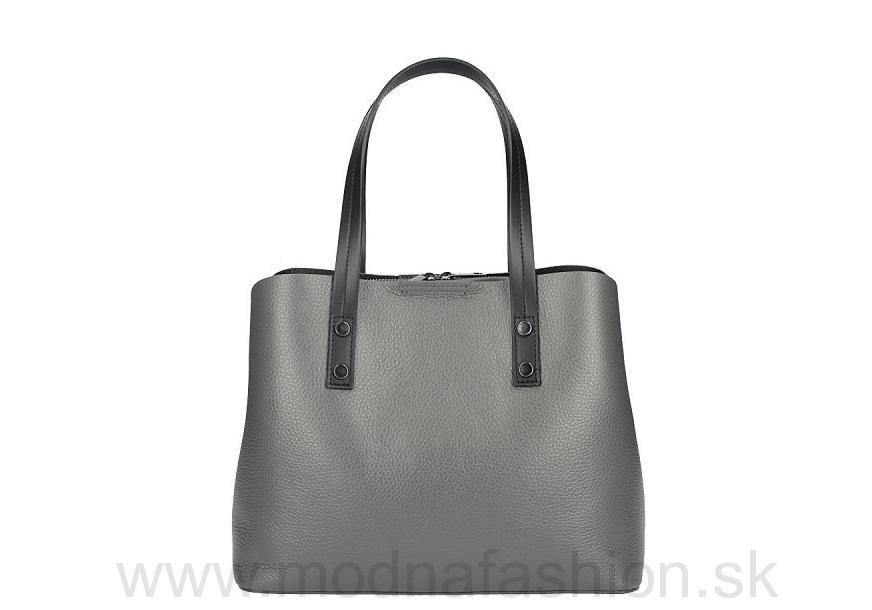 9dd9e37b55 Talianska kožená kabelka MILLY 5062 tmavošedá MADE IN ITALY
