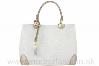 24e5975207 Kožená kabelka do ruky biela+zlatá empty
